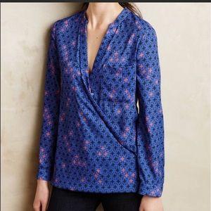 Maeve faux wrap top blouse blue 4 Anthropologie